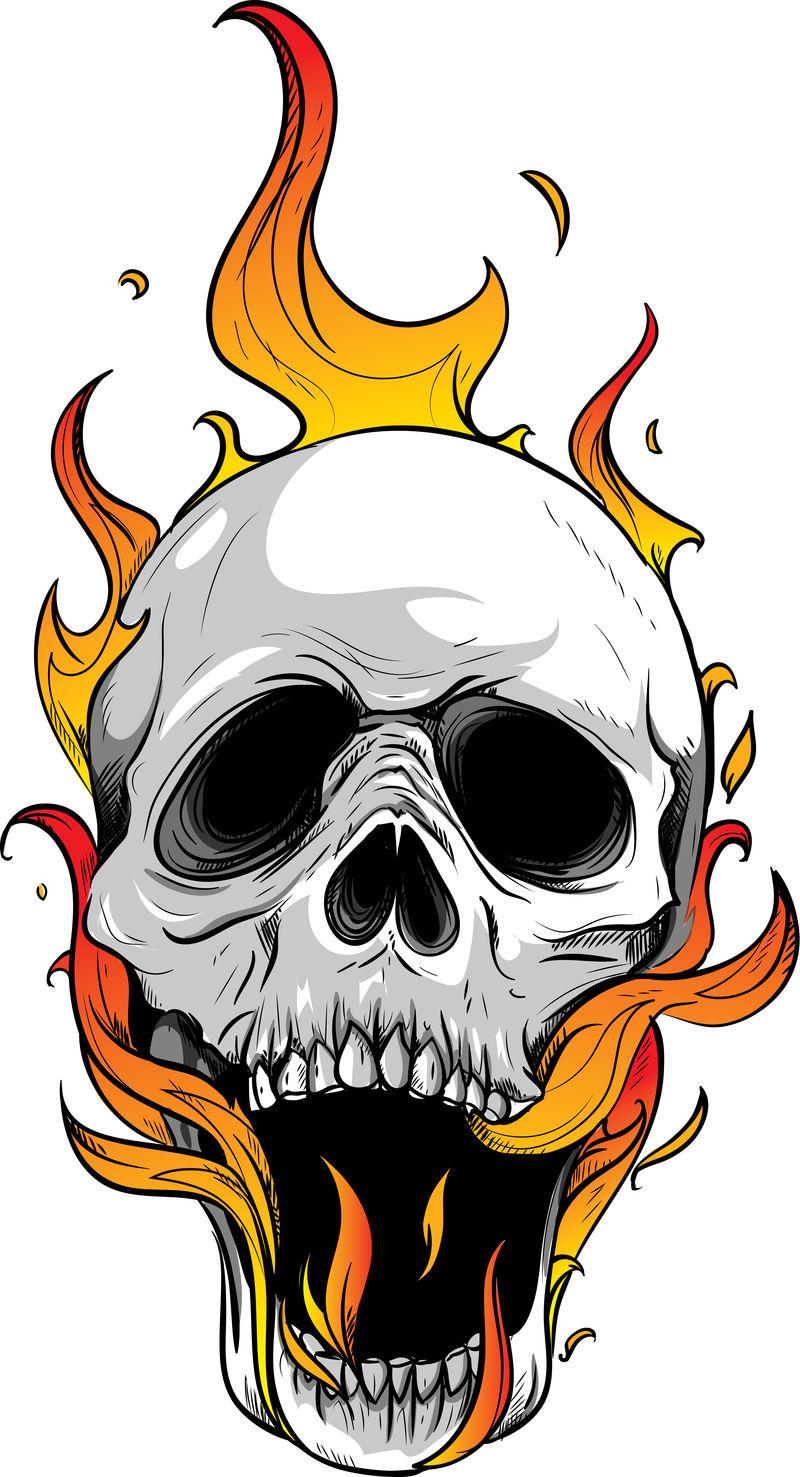 火焰骷髅恐怖邪恶灼热插图