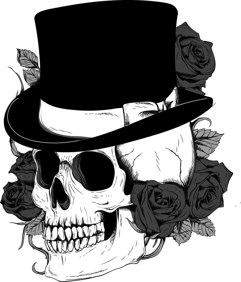 帽子筒里的头骨-黑白矢量图像