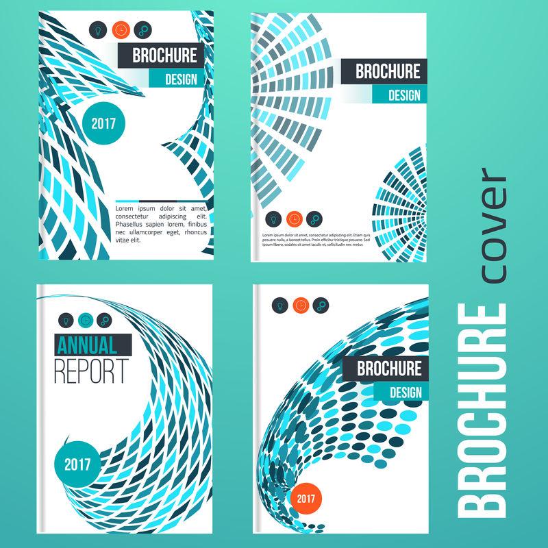 小册子设置蓝色封面设计模板与抽象几何线形为您的业务。