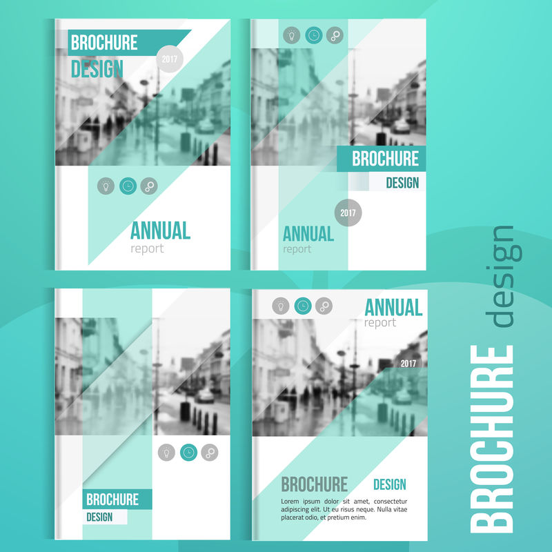 一套干净的小册子封面模板与模糊的城市景观。商业小册子封面设计,传单小册子封面,专业公司小册子封面。