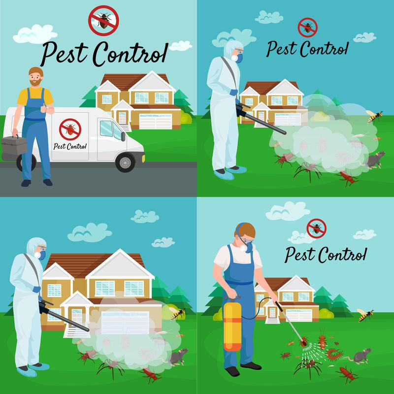 害虫控制概念与昆虫灭绝者轮廓矢量矢量图解