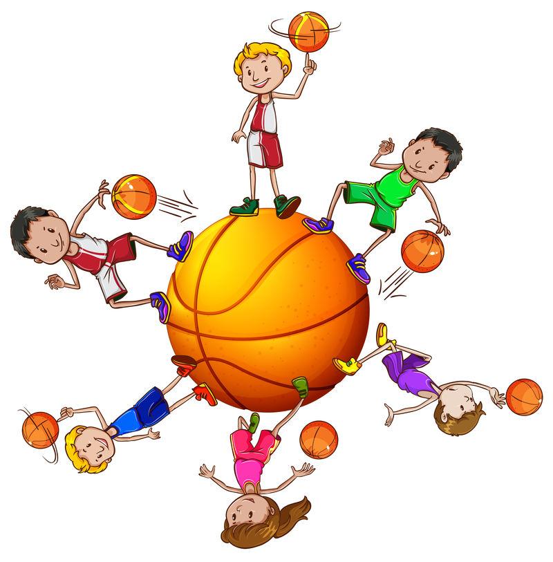 打篮球的男孩和女孩