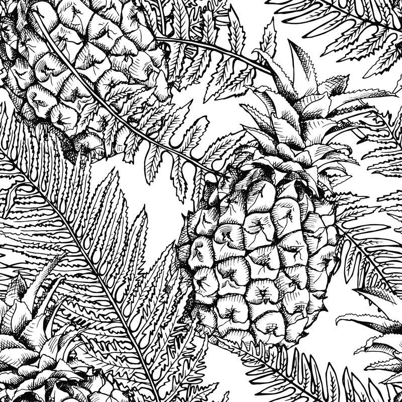 菠萝和蕨类植物叶子的无缝图案-矢量黑白插图