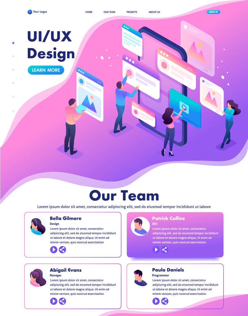 等距网站模板登陆页面亮丽的概念-创建应用程序设计的过程-用户界面用户体验