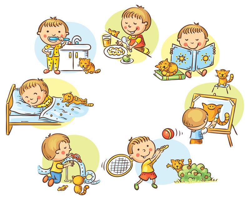 小男孩的日常活动