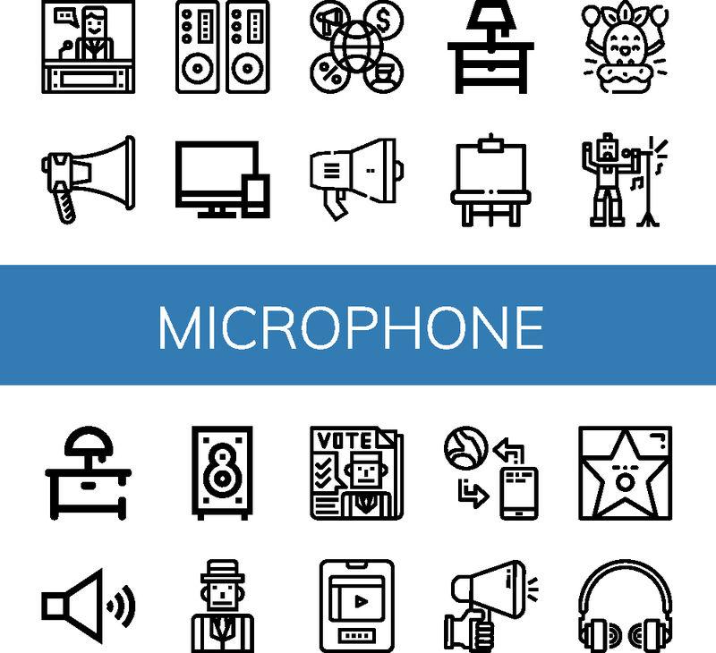 一组麦克风图标-如新闻、扩音器、扬声器、电视、床头柜、画架、生日、歌手、扬声器、记者、报纸、娱乐、通讯、麦克风