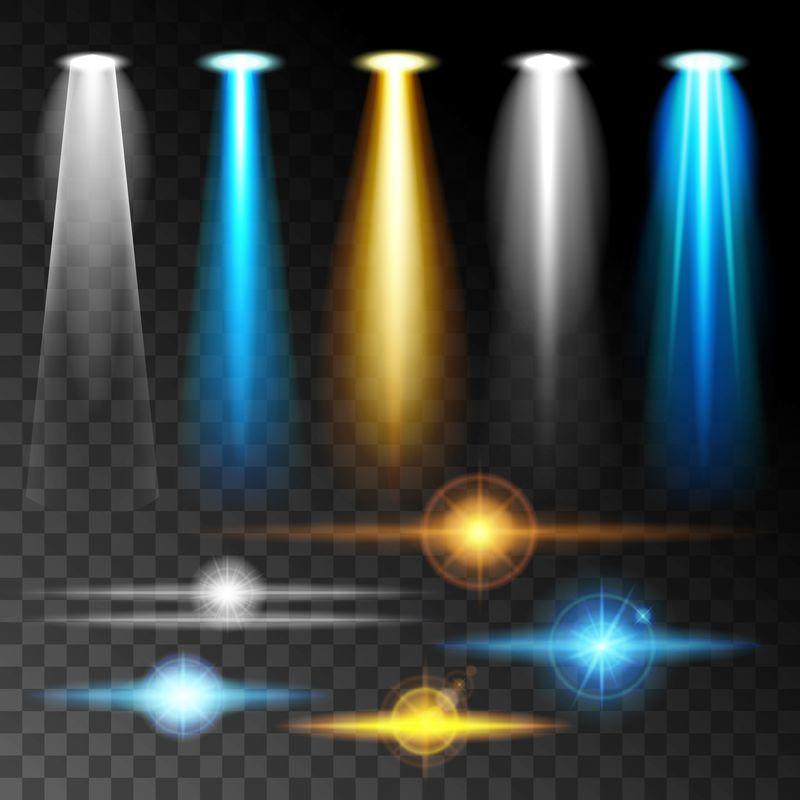 设置逼真的灯光照射明亮的蓝色眩光灯,一套各种形状和投影在黑暗的背景。抽象矢量图解