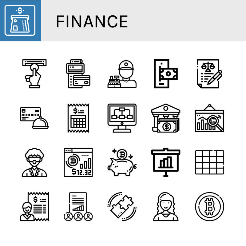 一组金融图标-如ATM、POS、出纳、在线支付、协议、信用卡、账单、数据、银行、分析、研究员、比特币、储蓄罐、统计、颜色、金融