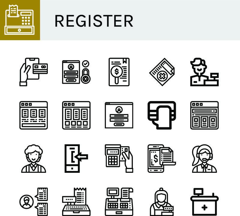 一组注册图标-如注册、付款、登录、医疗证明、出纳、价目表、文员、前台、注册