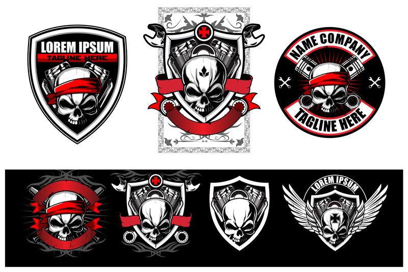 摩托车俱乐部、摩托车车间和服装用骷髅车手标志