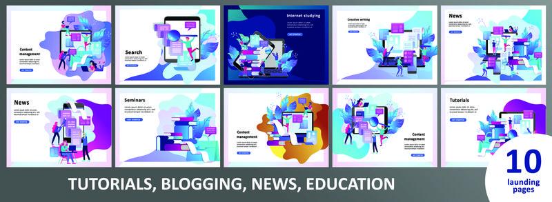 概念登录页模板教育人员、互联网学习、在线培训、在线书籍、教程、社交媒体电子学习、远程教育、文档、卡片、海报
