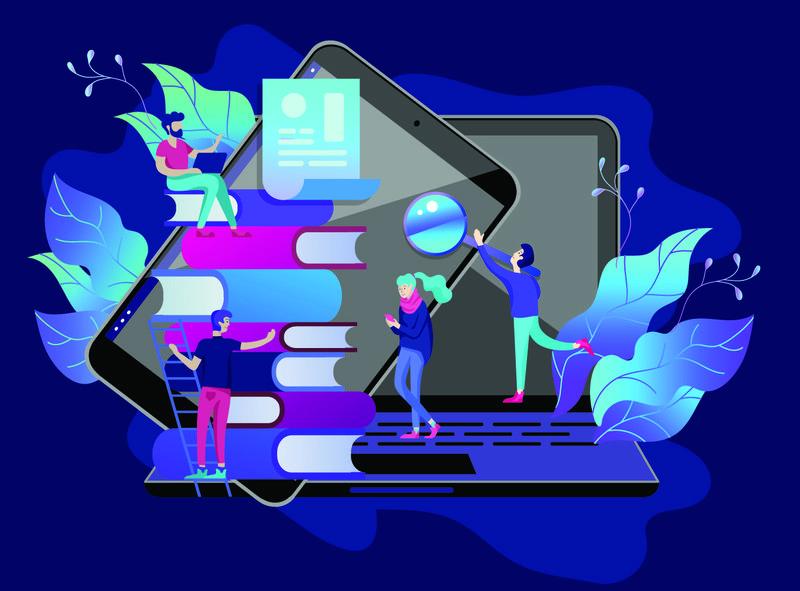 概念教育人员-网络学习-在线培训-在线书籍-教程-社交媒体电子学习-远程教育-文件-卡片-海报-矢量插图在线教学