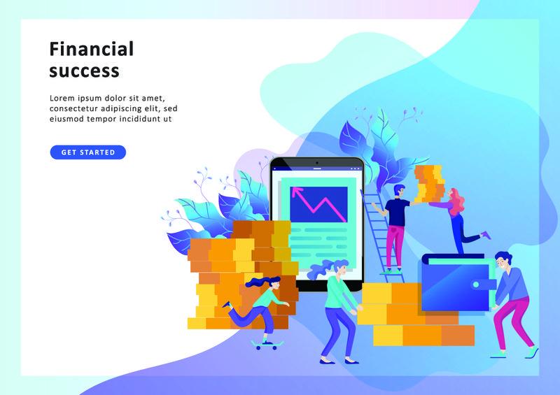 概念登录页模板-金融投资-创新投资-市场营销-分析-横幅-展示-社交媒体-证券金融的向量图解担保