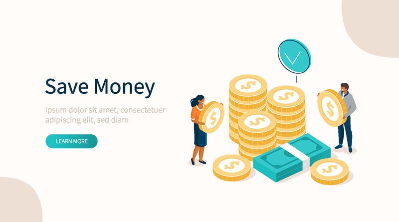 钱堆插图-财富、成功和利润的观念