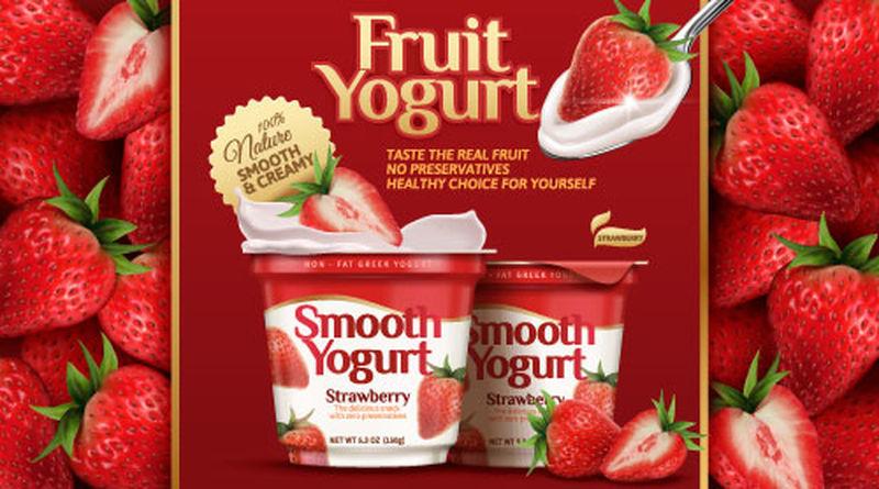 酸奶洒在草莓上