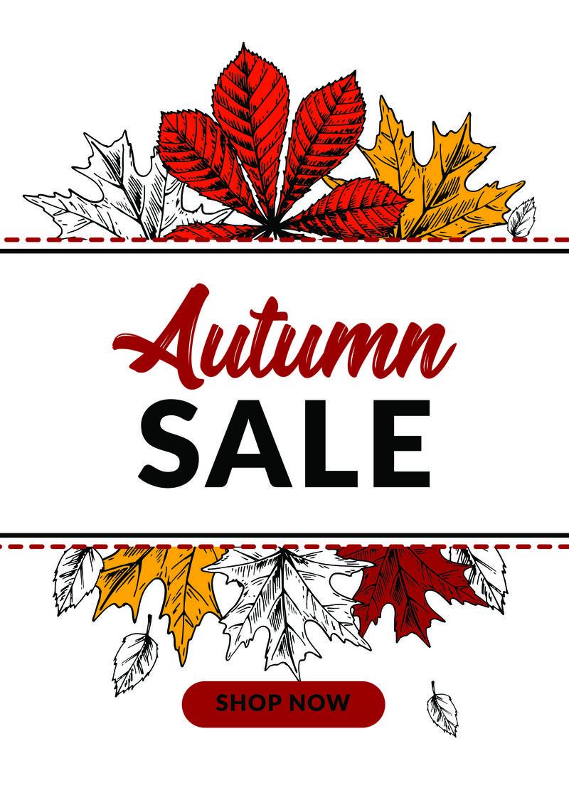 手工绘制的秋天销售横幅与美丽的树叶。垂直au