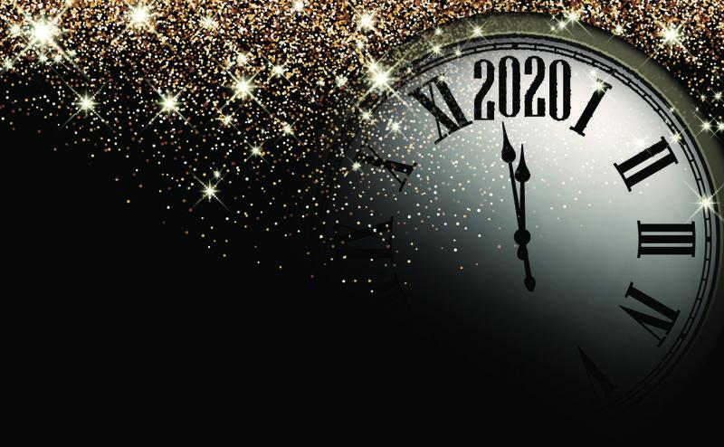 黑色和金色闪亮的2020新年背景和时钟-漂亮的圣诞贺卡-矢量图解