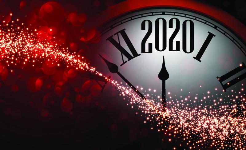 红色闪亮波基2020新年背景与24小时-漂亮的圣诞贺卡或装饰模板-矢量图解