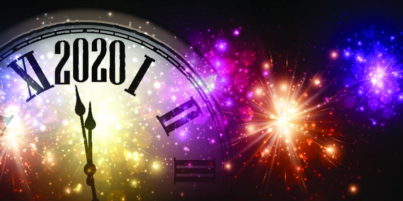 闪亮的2020新年背景-时钟和五颜六色的焰火-矢量图解