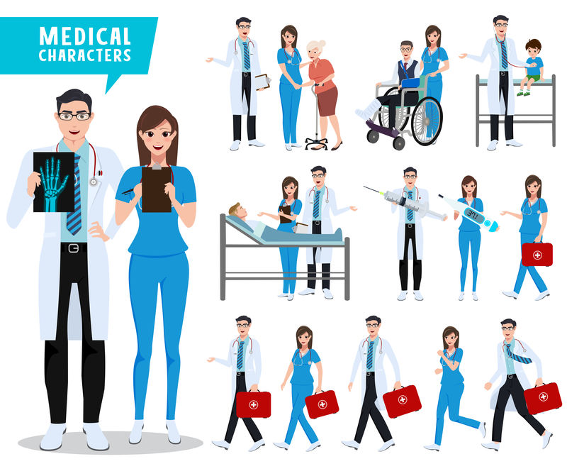 医生和护士矢量字符集-医疗保健和医务人员随身携带病人和医疗工具-矢量图解