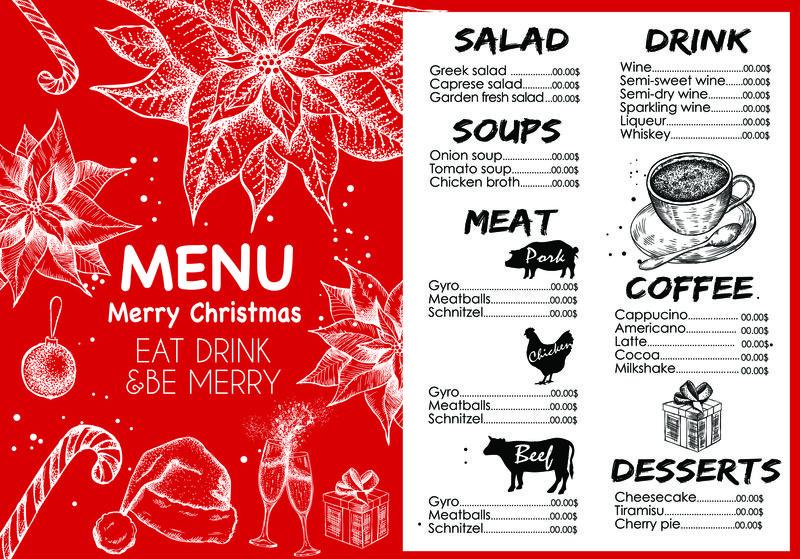圣诞餐厅小册子-菜单模板-矢量假日背景和设计横幅-新年快乐的圣诞舞会用手工绘制的圣诞图形
