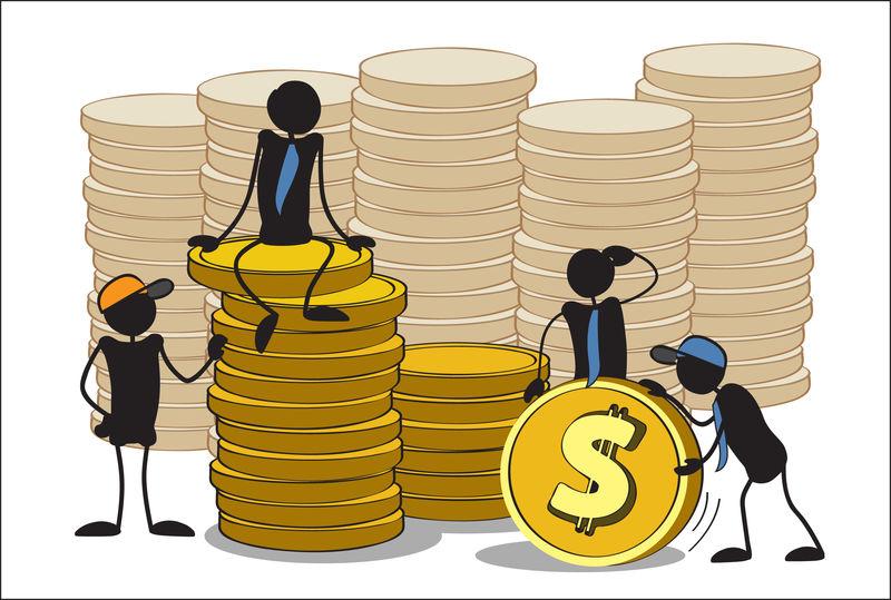 小白种人把硬币堆起来-团队合作-投资或银行理念-手绘卡通或素描设计-矢量图示