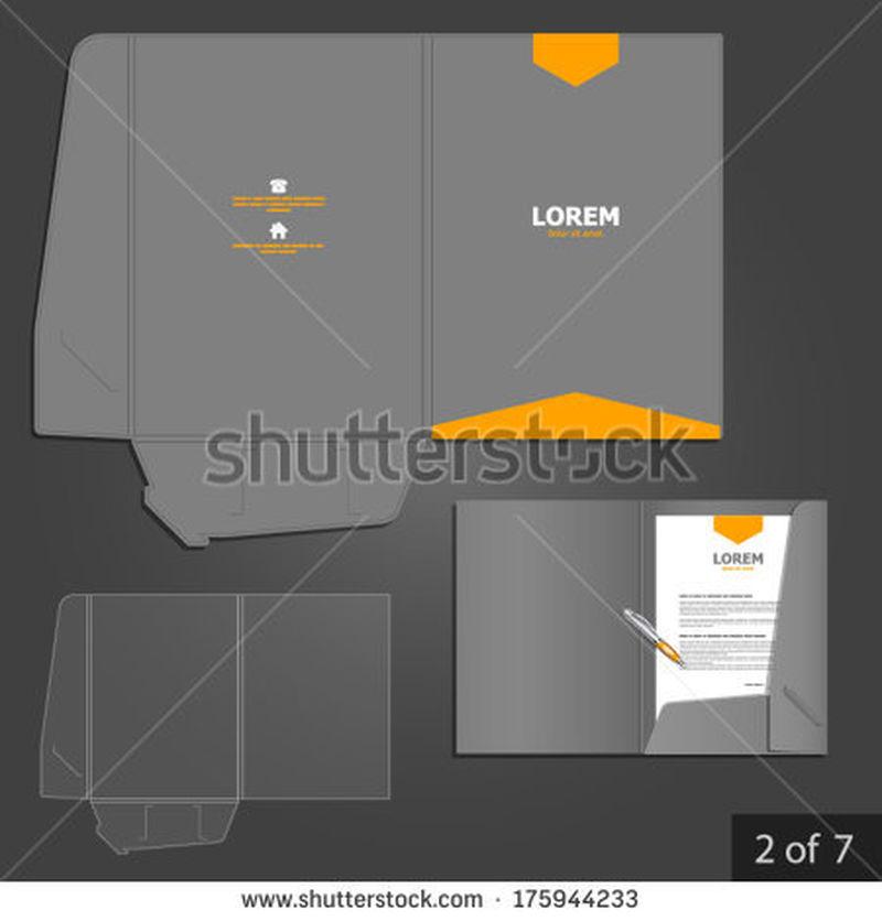 灰色文件夹模板设计公司用橙色箭头-文具的元素