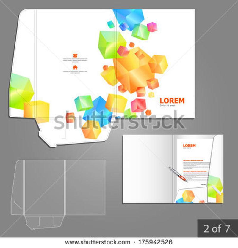 带彩色方块元素的公司文件夹模板设计-文具的元素