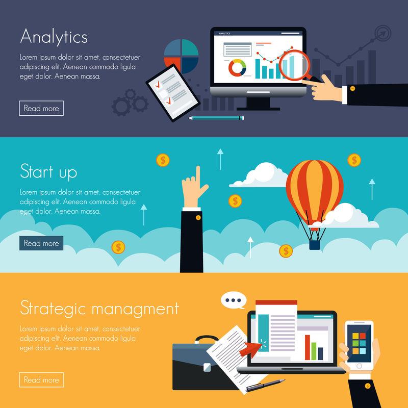 一套用于战略管理和投资的平面设计说明概念-网页横幅和宣传材料的概念
