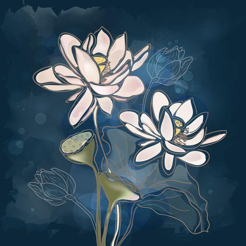 Eps10矢量-蓝色背景的睡莲