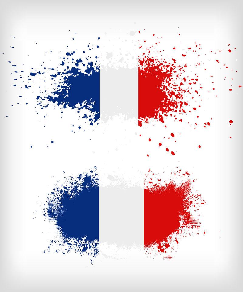 肮脏的法国墨水飞溅的旗帜向量