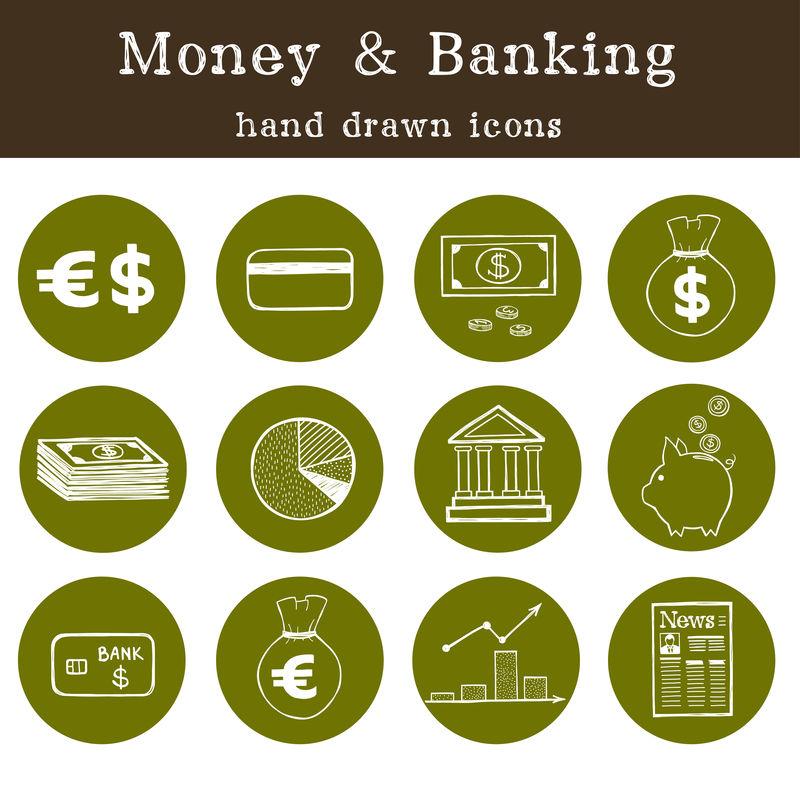 涂鸦货币和银行图标