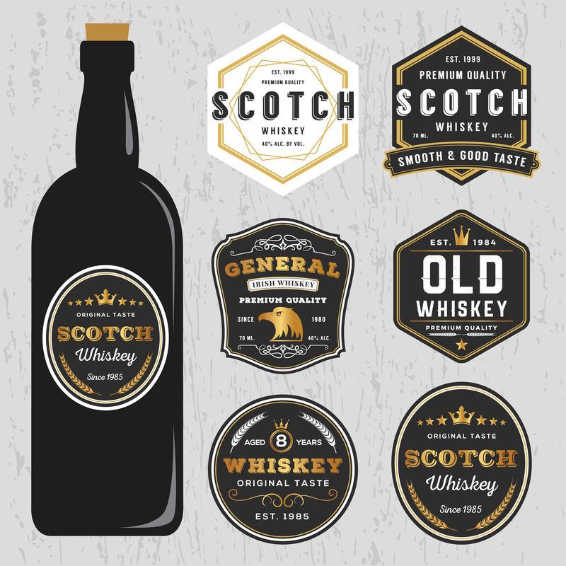 复古优质威士忌品牌标签设计模板-可调整大小和免费字体使用