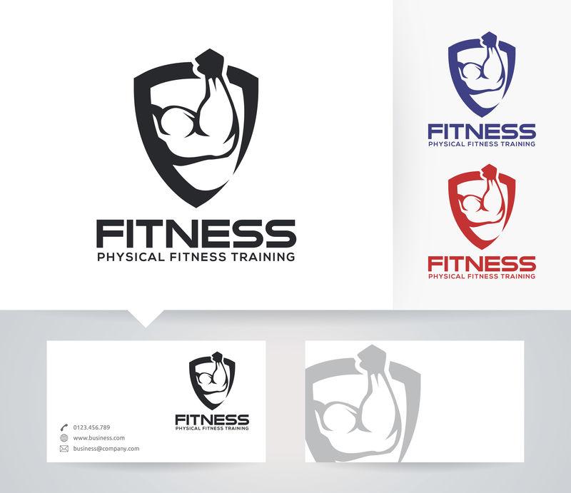 健身-运动-健康-体重-肌肉-矢量徽标模板
