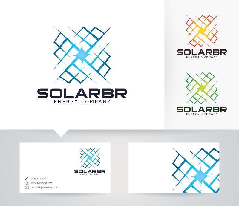 太阳能-能源-电力-电力-矢量徽标模板