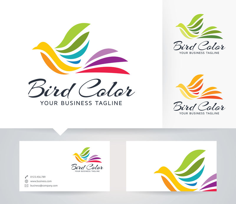 鸟的颜色-彩色-艺术-工作室-颜色-鸟-动物-抽象-大肠杆菌-矢量徽标模板