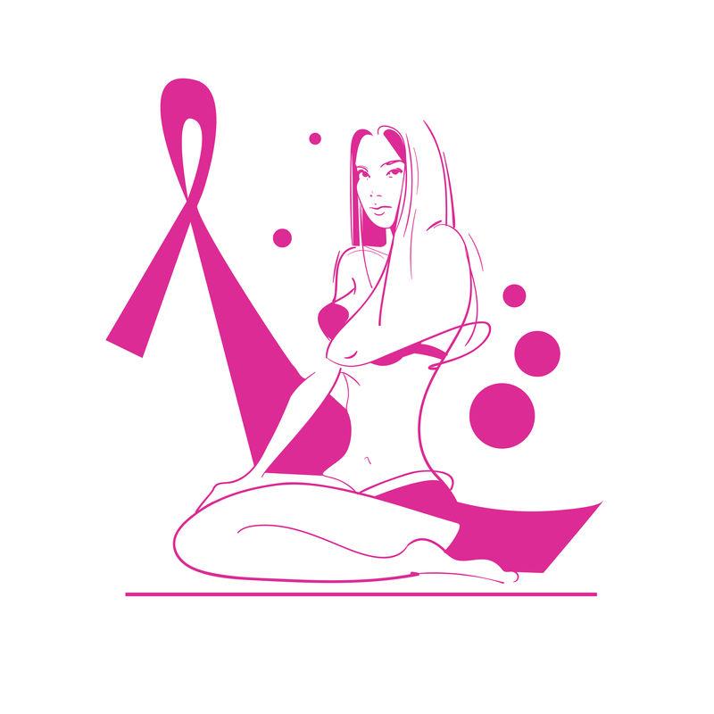 粉红丝带乳腺癌意识女性身体