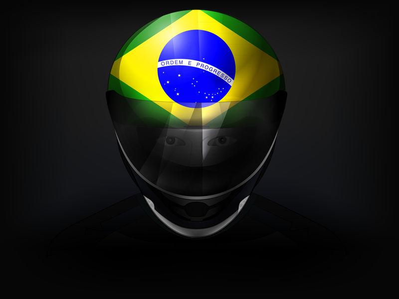 头盔上有旗帜的巴西赛车手矢量特写镜头