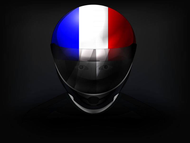 头盔上有国旗的法国赛车手矢量特写镜头