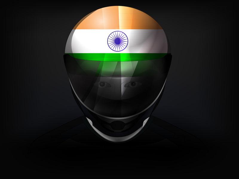 头盔上有国旗的印度赛车手矢量特写镜头
