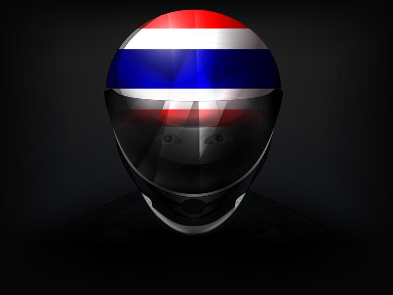 头盔上有国旗的泰国赛车手矢量特写镜头