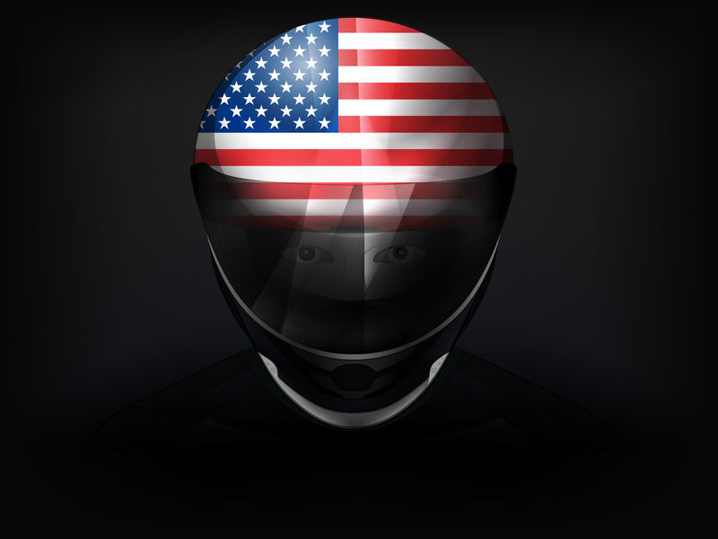 头盔上有国旗的美国赛车手矢量特写镜头