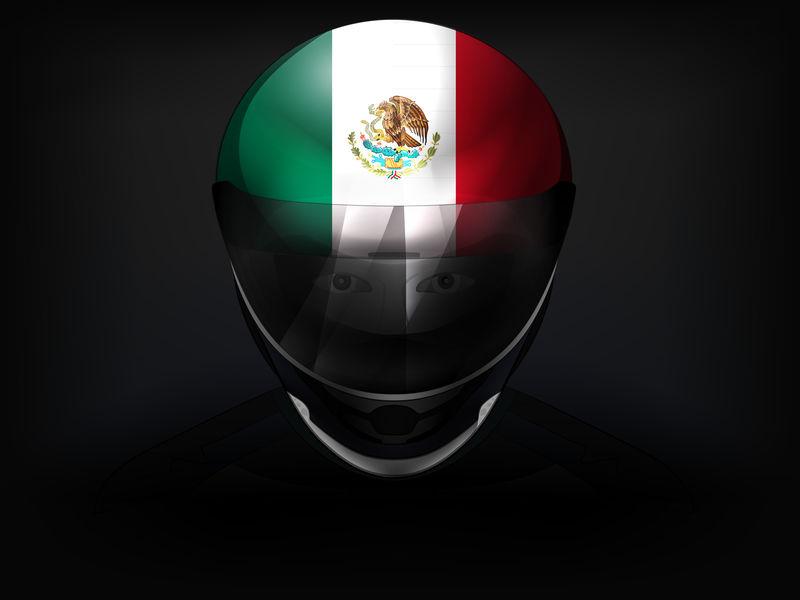 墨西哥赛车手上有头盔头盔的特写镜头