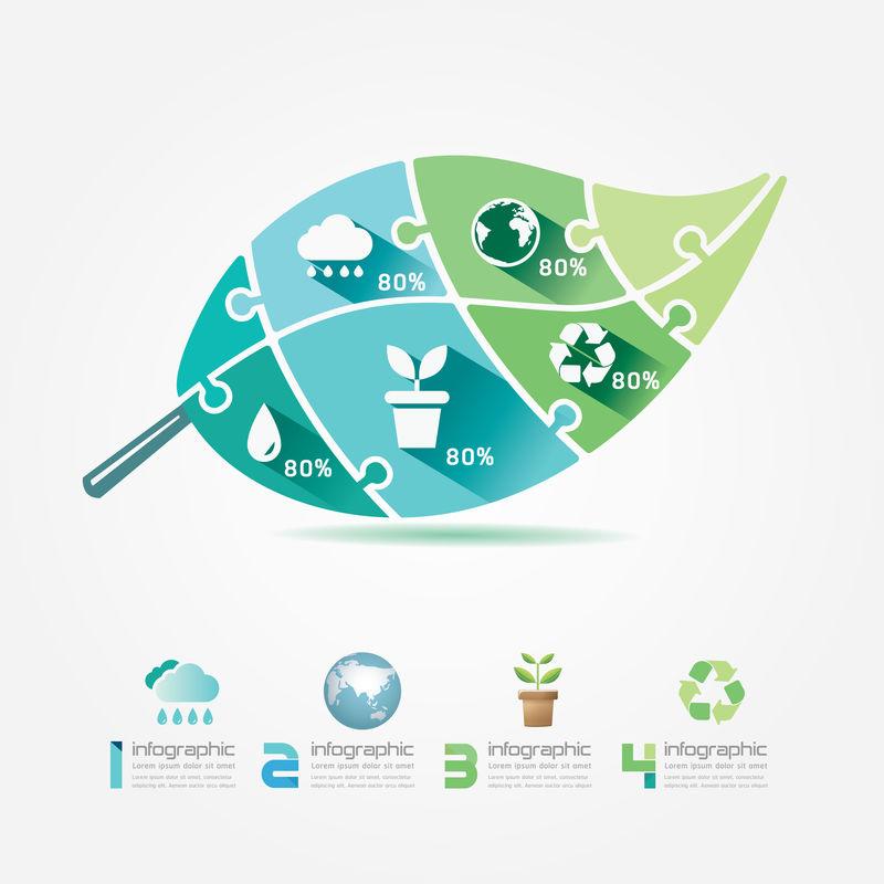 绿叶设计元素生态信息图形拼图概念。