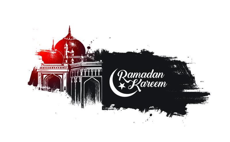 斋月卡里姆清真寺或清真寺-矢量图解