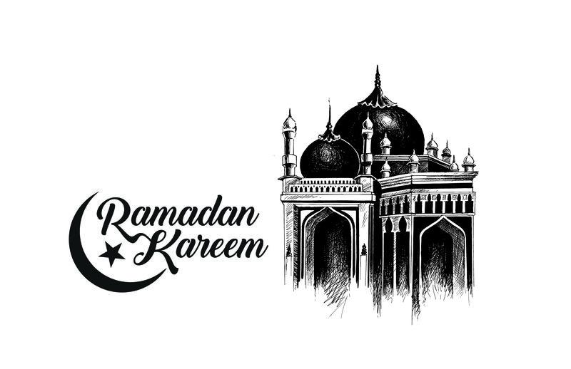 开斋节穆巴拉克庆祝-书法风格的文字斋月卡里姆与清真寺文本-矢量图解