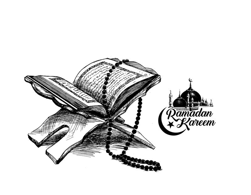 展台上的《古兰经》圣书-手绘素描矢量插图