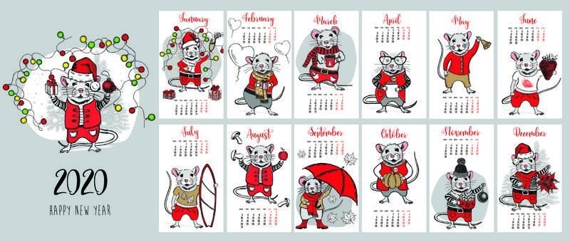可爱舒适的海格2020日历-所有月份的年度计划日历-良好的组织和日程安排-鲜艳的插画设计
