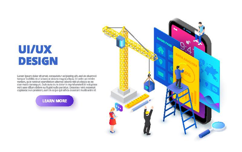 带有智能手机、起重机和人的用户体验/用户界面设计概念-等距矢量图-web的登录页模板