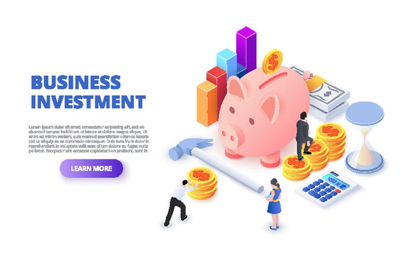 商业投资设计理念与存钱罐、硬币和人-等距矢量图-web的登录页模板